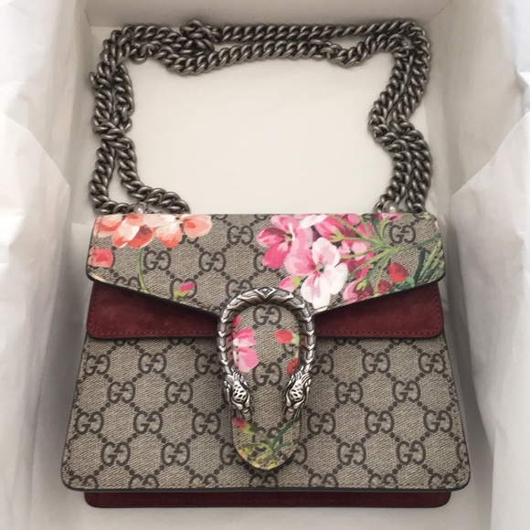 d44f85ee66cd Gucci Handbags - Gucci Mini Dionysus GG Blooms Canvas and Suede bag